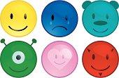 Aqua Smiley Buttons