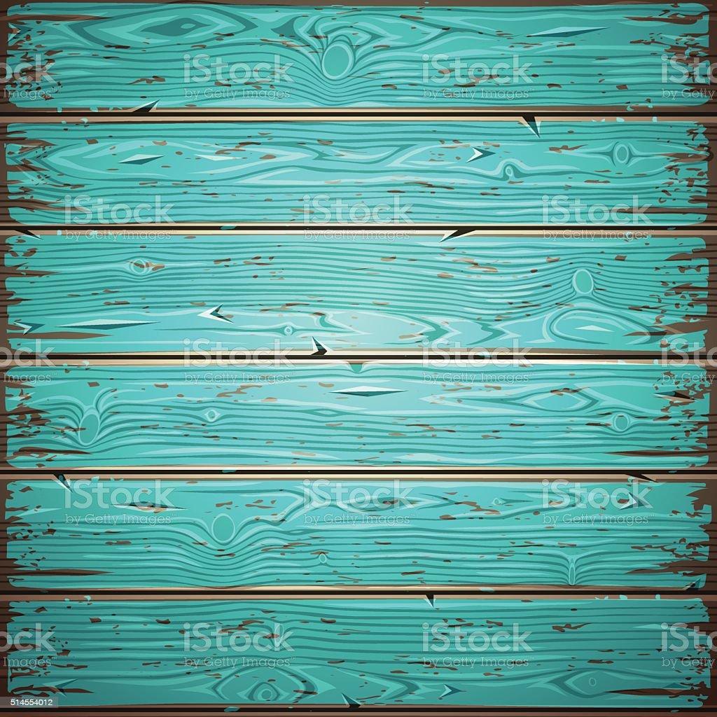 Aquamarine Old Wooden Painted Wall vector art illustration