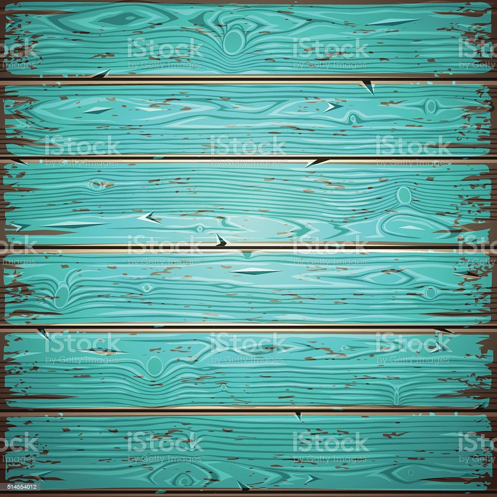 Aquamarine Old Wooden Painted Wall vector art illustration