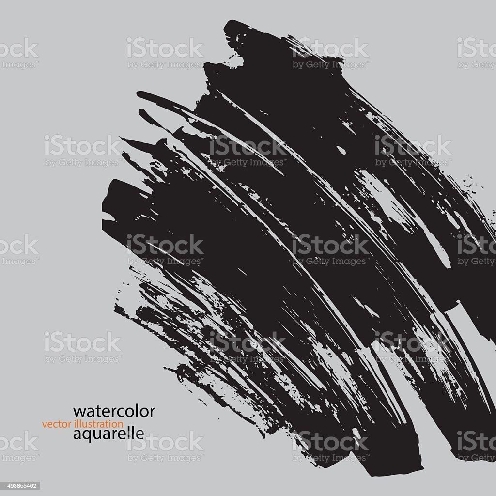 aquarelle_watercolor_vector_illustration_black_brush vector art illustration