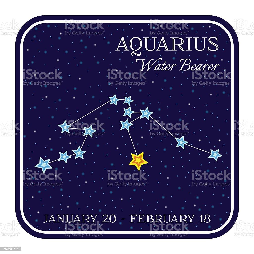 Aquarious zodiac constellation in square frame vector art illustration