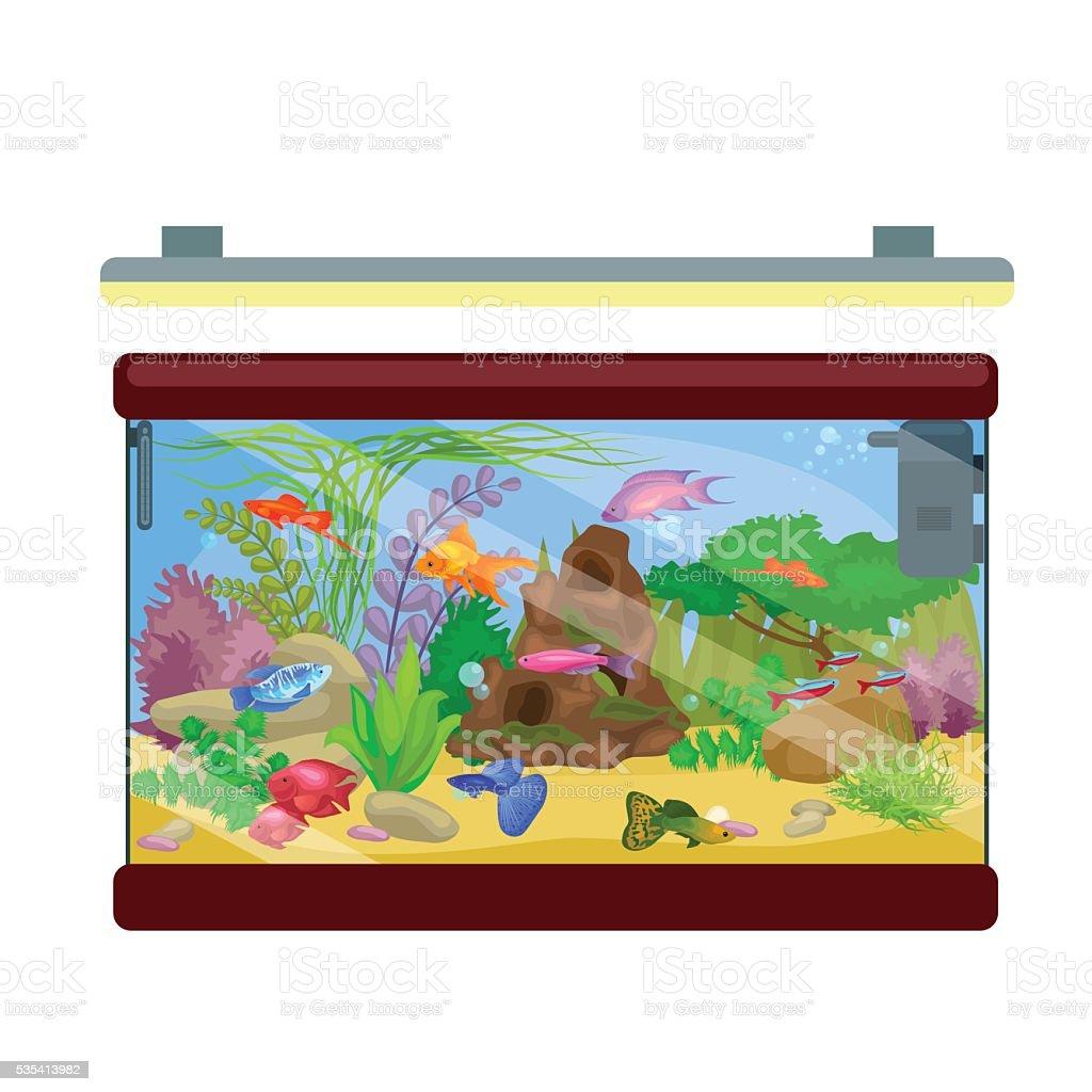 Aquarium fish, seaweed underwater with marine animal isolated on white vector art illustration