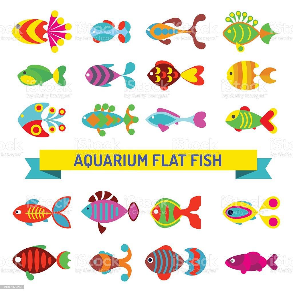 Aquarium flat style fishes vector icons vector art illustration
