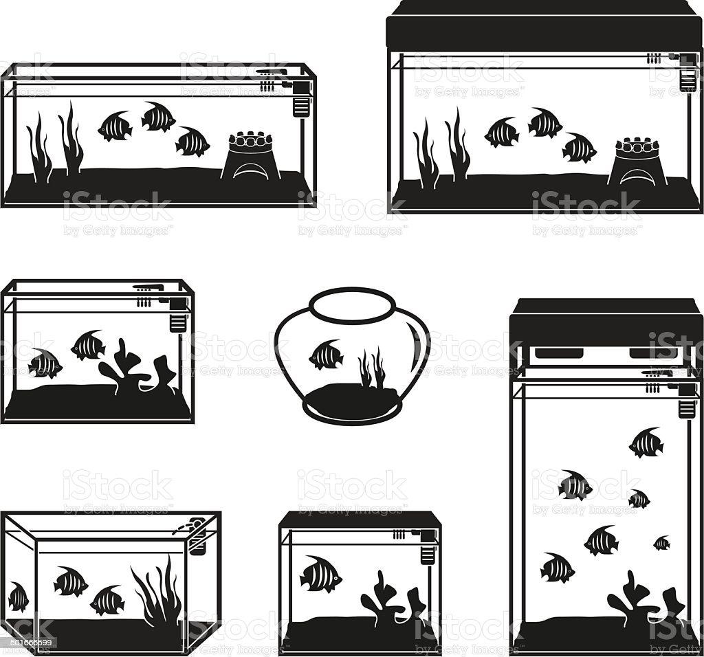 Aquarium vector set vector art illustration