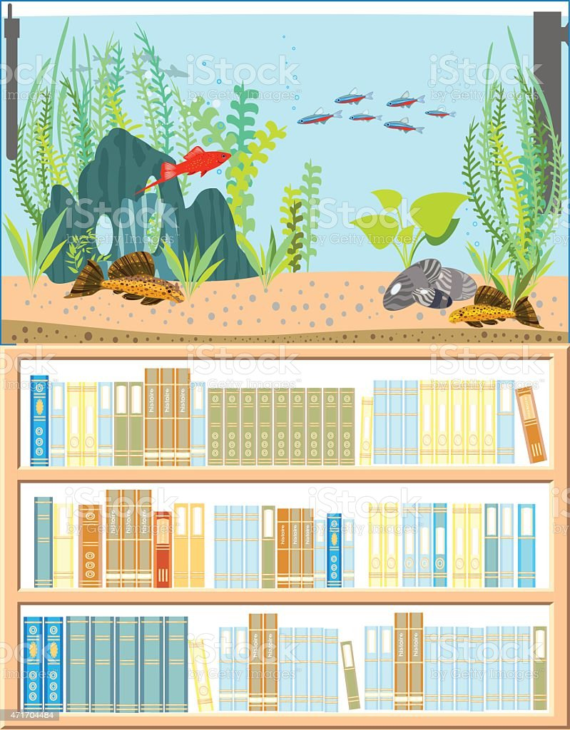Aquarium with freshwater fishes and bookshelf vector art illustration