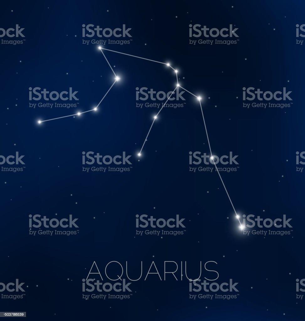 Aquarius constellation in night sky royalty-free stock vector art