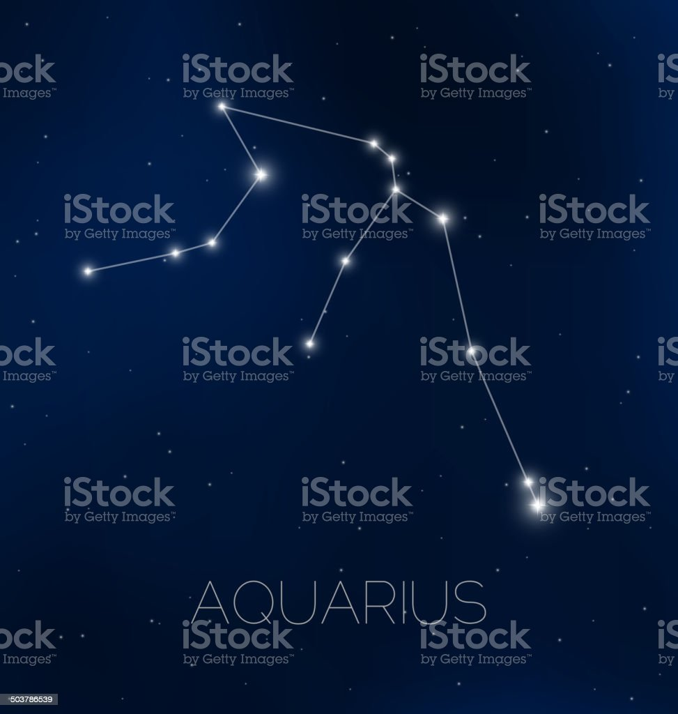 Aquarius constellation in night sky vector art illustration