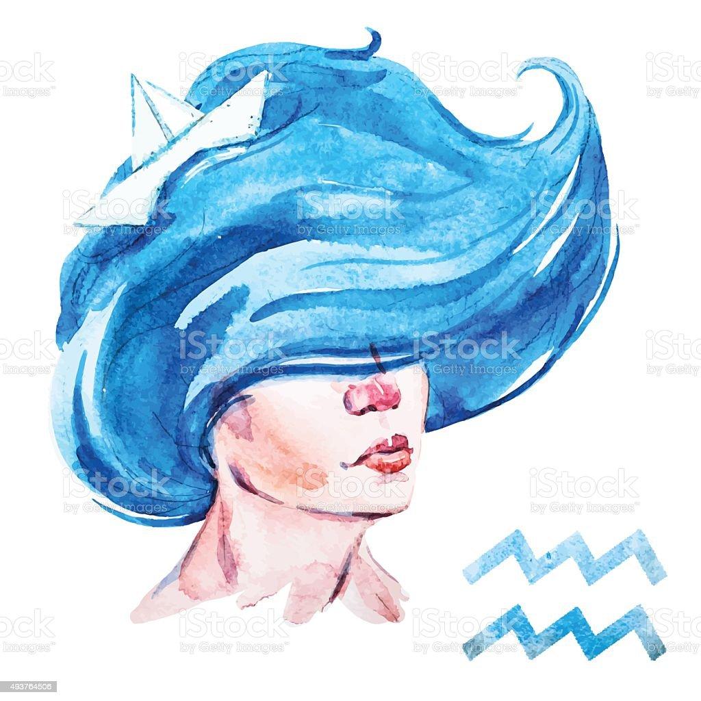 Aquarius horoscope vector vector art illustration