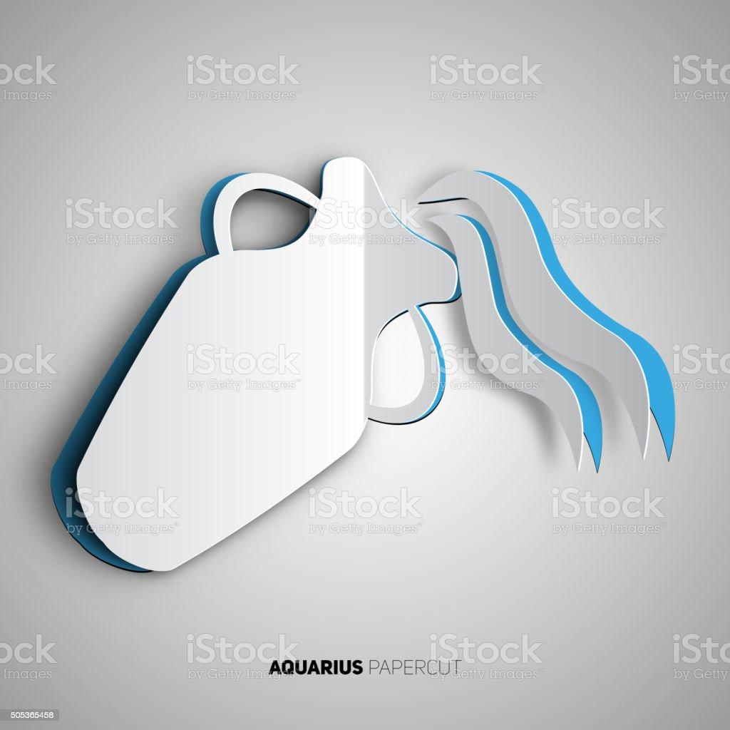 Aquarius, zodiac sign in papercut style vector art illustration