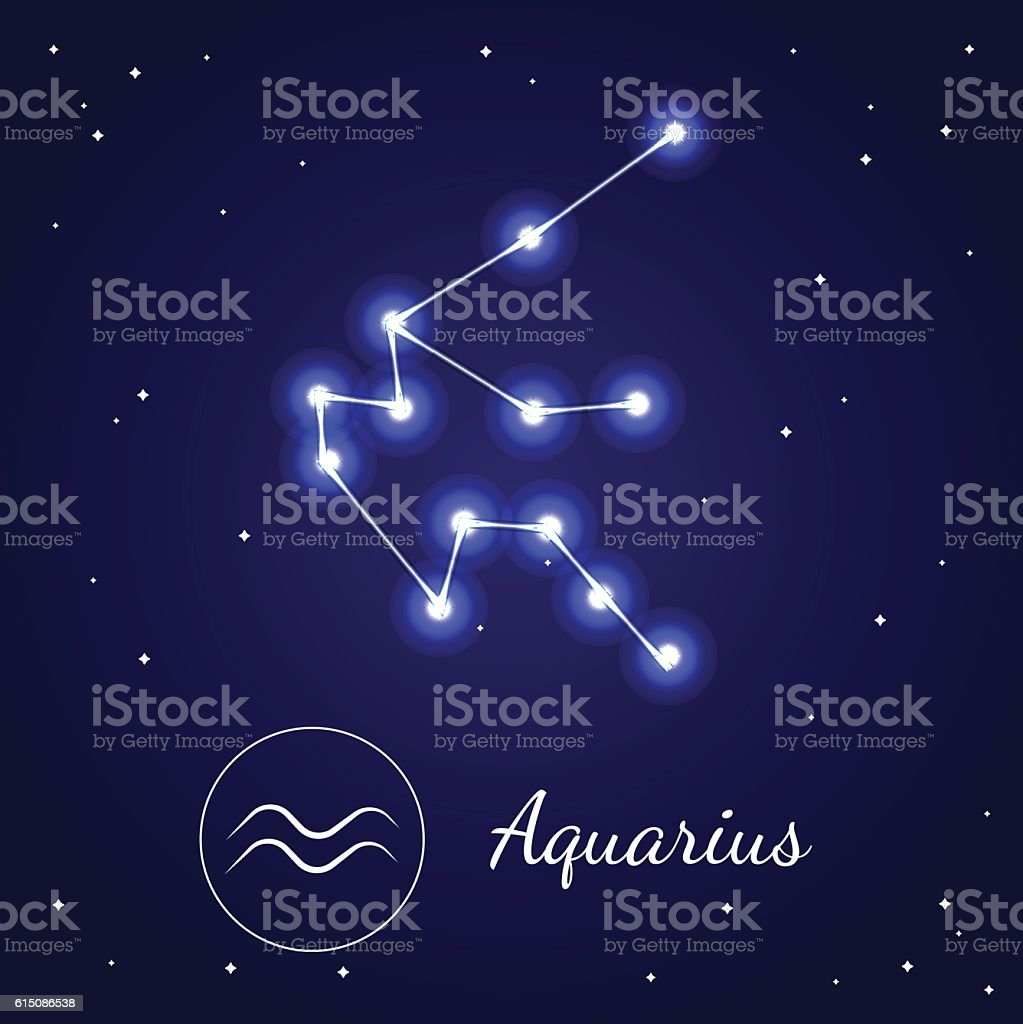 Aquarius Zodiac Sign Stars on the Cosmic Sky. Vector vector art illustration