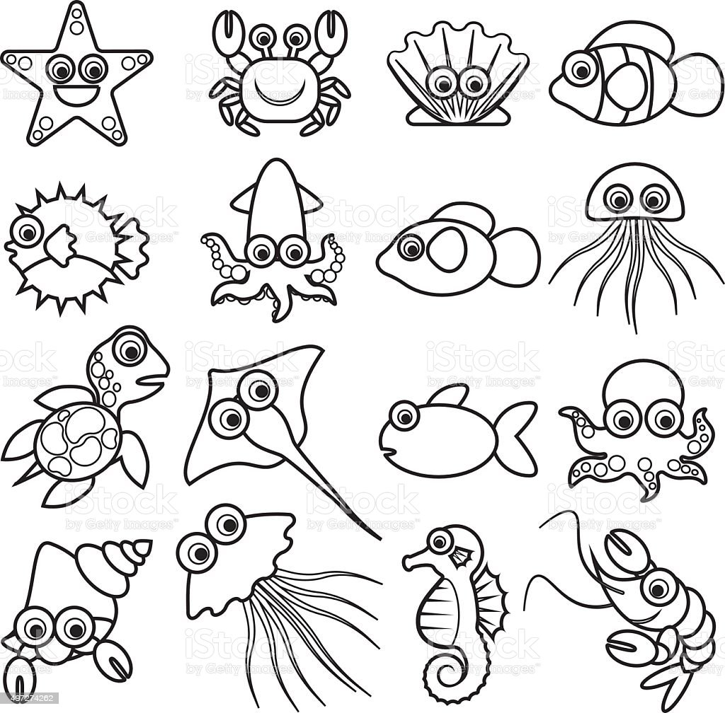 aquatic animals1 vector art illustration