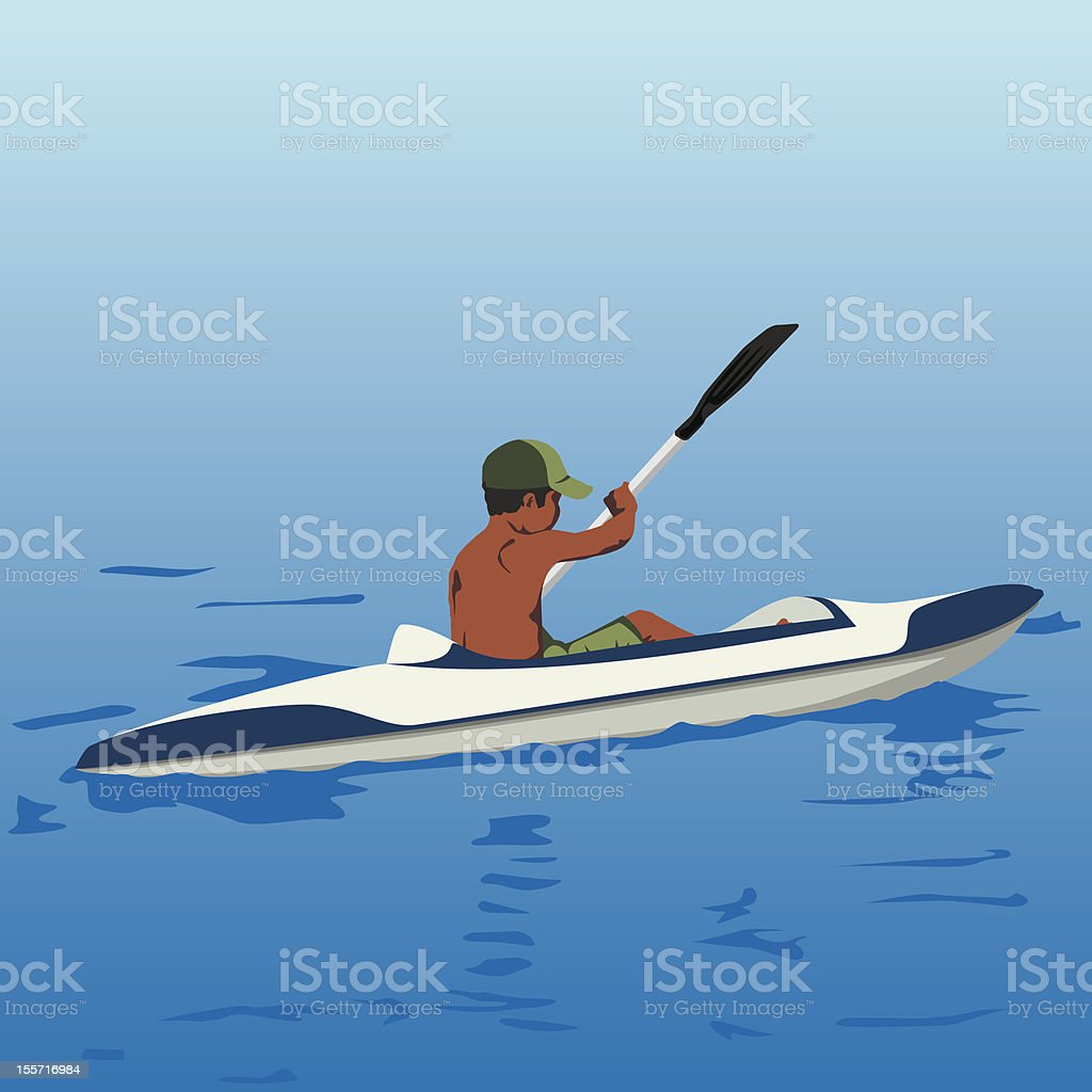 Aquatic Sport - Kyak boy vector art illustration