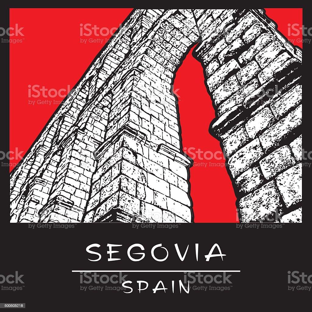 Aqueduct of Segovia. vector art illustration