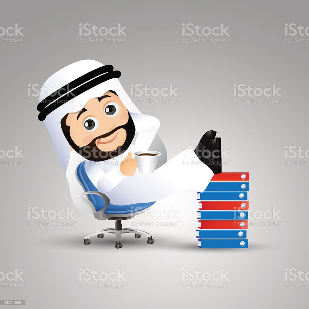 Arab Businessman resting in armchair with legs up. document vector art illustration