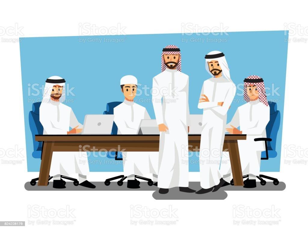 Arab businessman wearing traditional clothing Having Board Meeting,Vector illustration cartoon character vector art illustration