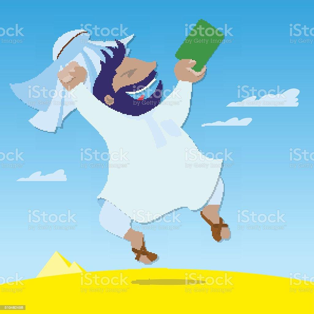 Arab got a green card and jumping for joy vector art illustration