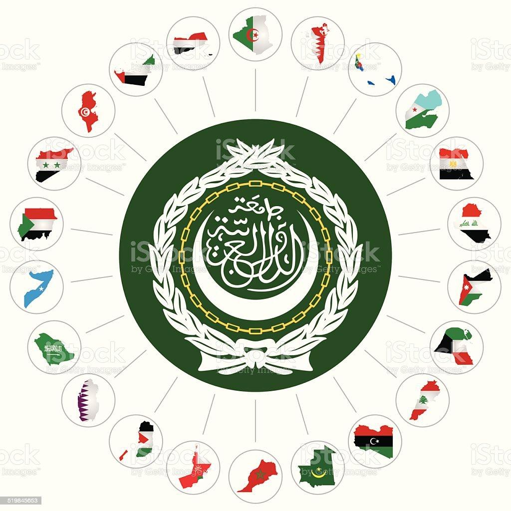 Arab League member states vector art illustration