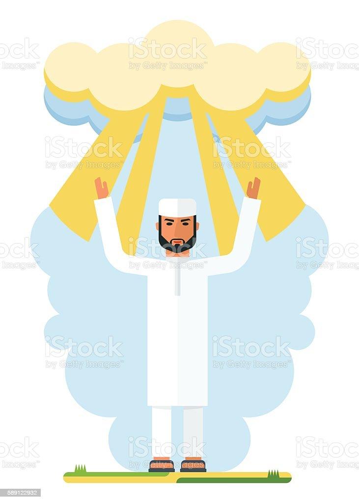arab man and god shine vector art illustration