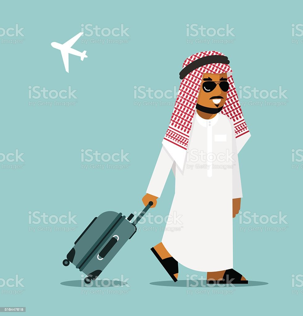 Arab man in travel concept vector art illustration