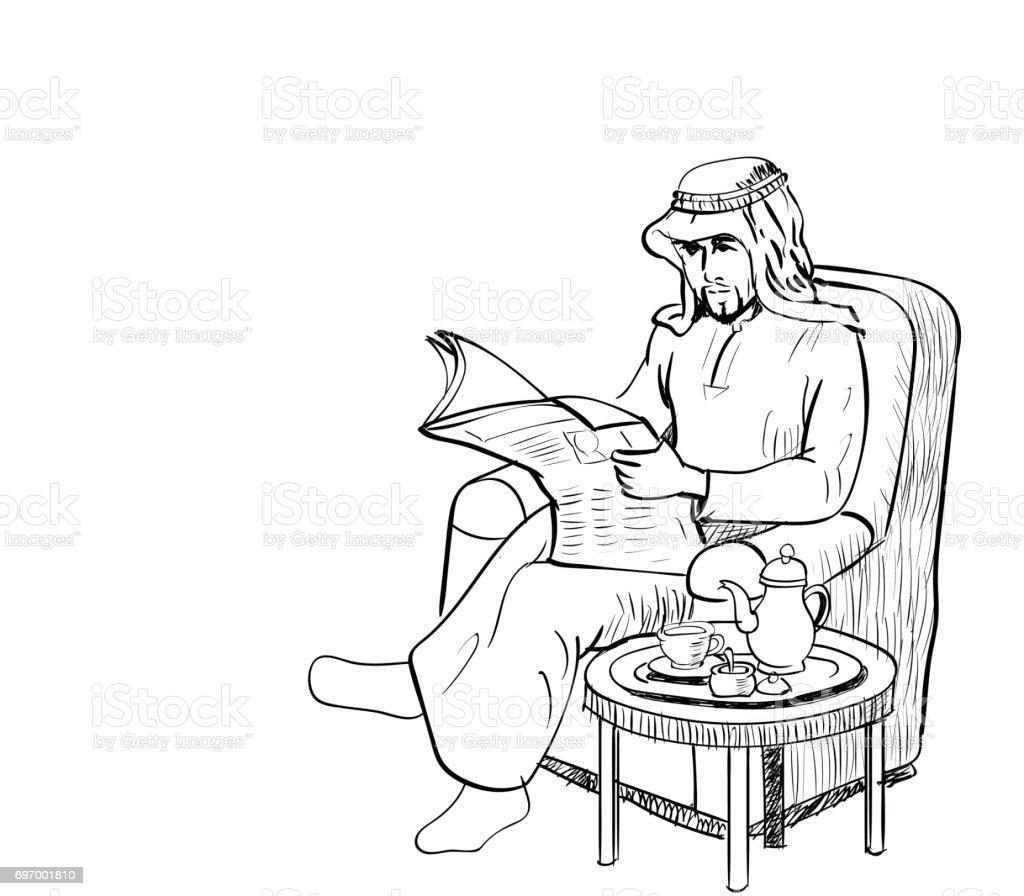 Sofa gezeichnet  Arabische Mann Auf Sofa Linie Gezeichnet Vektor Zeitung Lesen ...