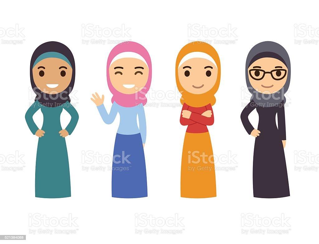 Arab Muslim women set vector art illustration