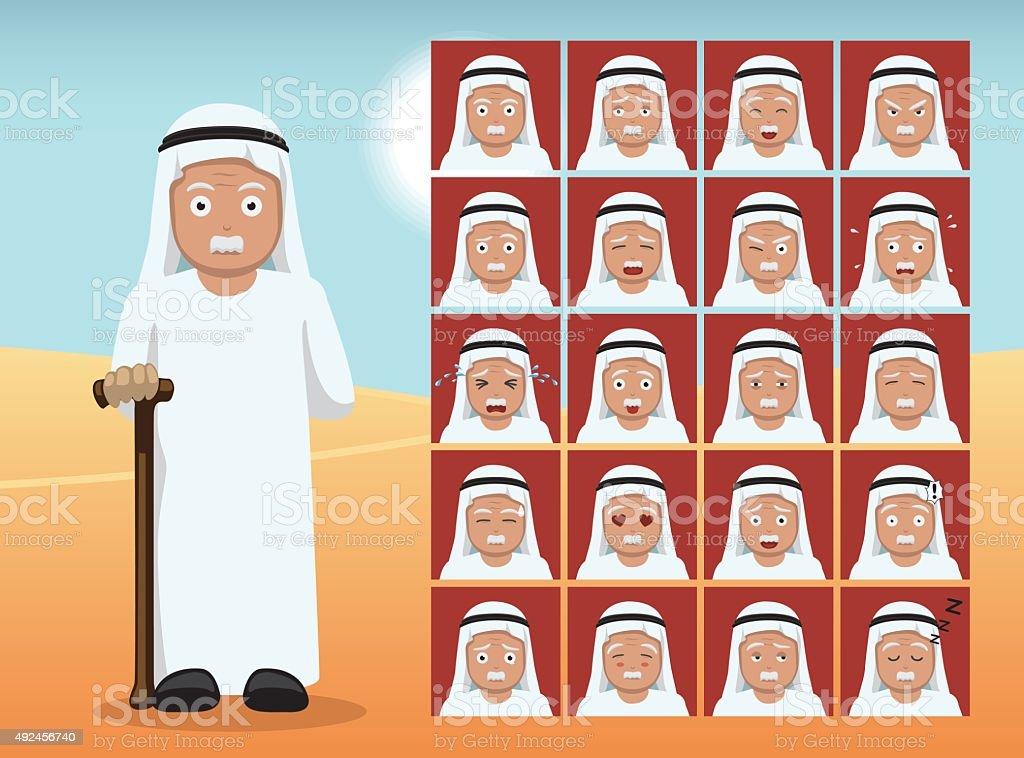 Arab Old Man Cartoon Emotion faces Vector Illustration vector art illustration