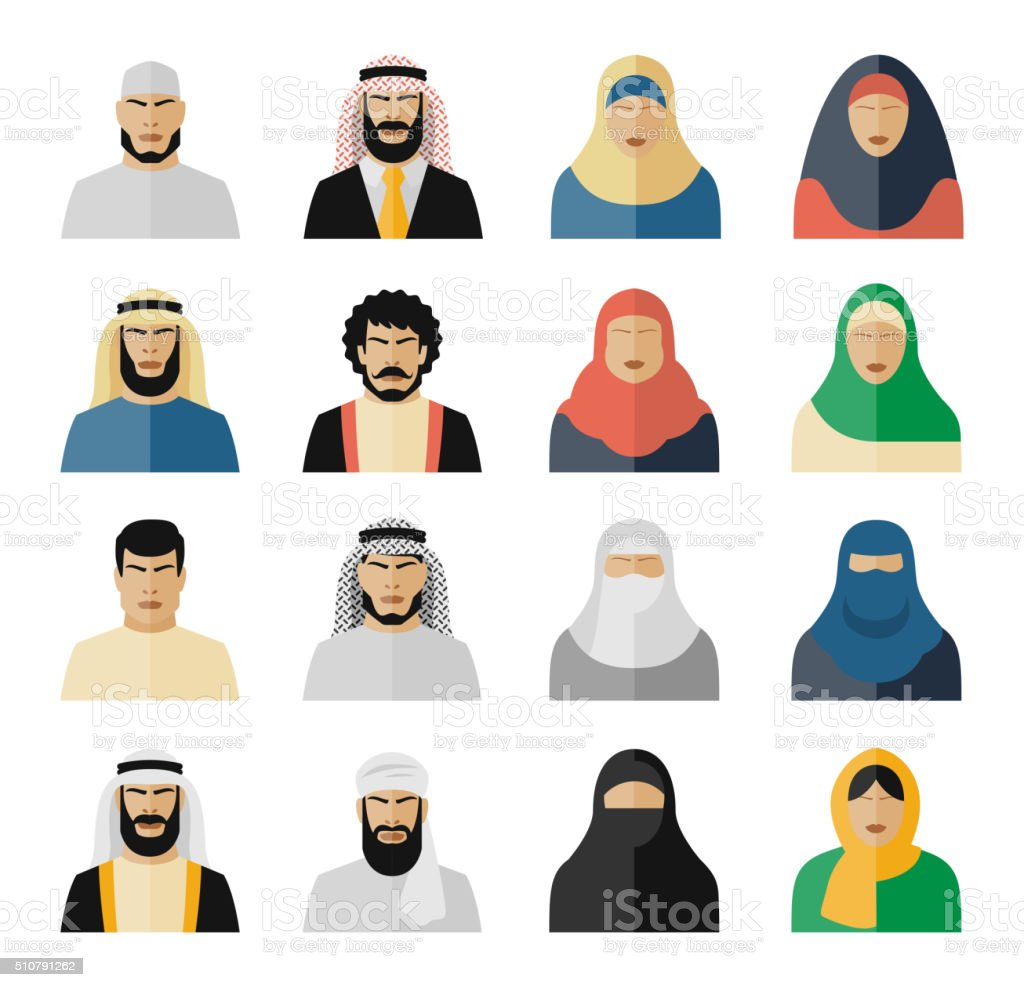 Arab people icons vector art illustration