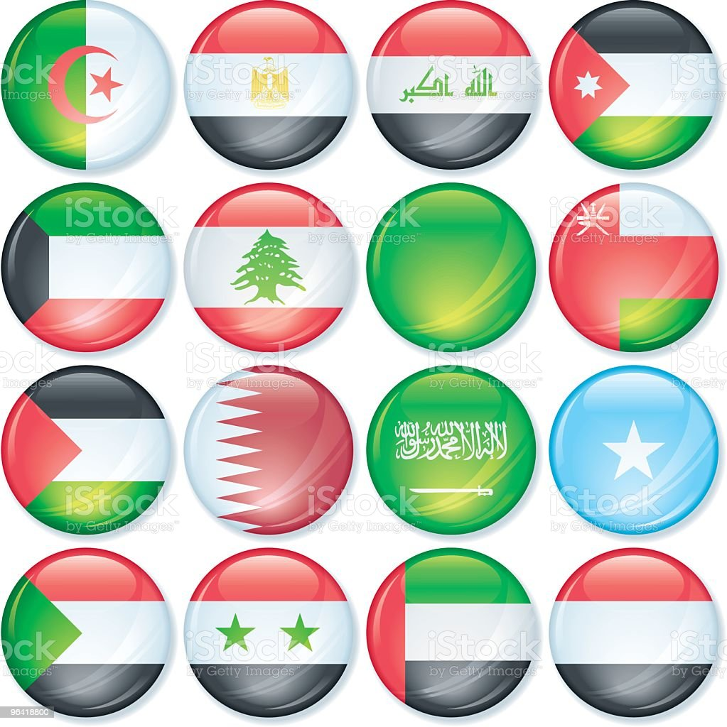 Arab World Flags Super Glossy royalty-free stock vector art