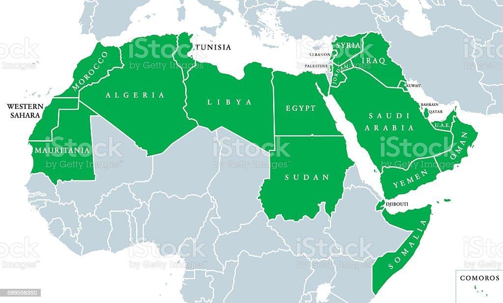 Arab World political map vector art illustration