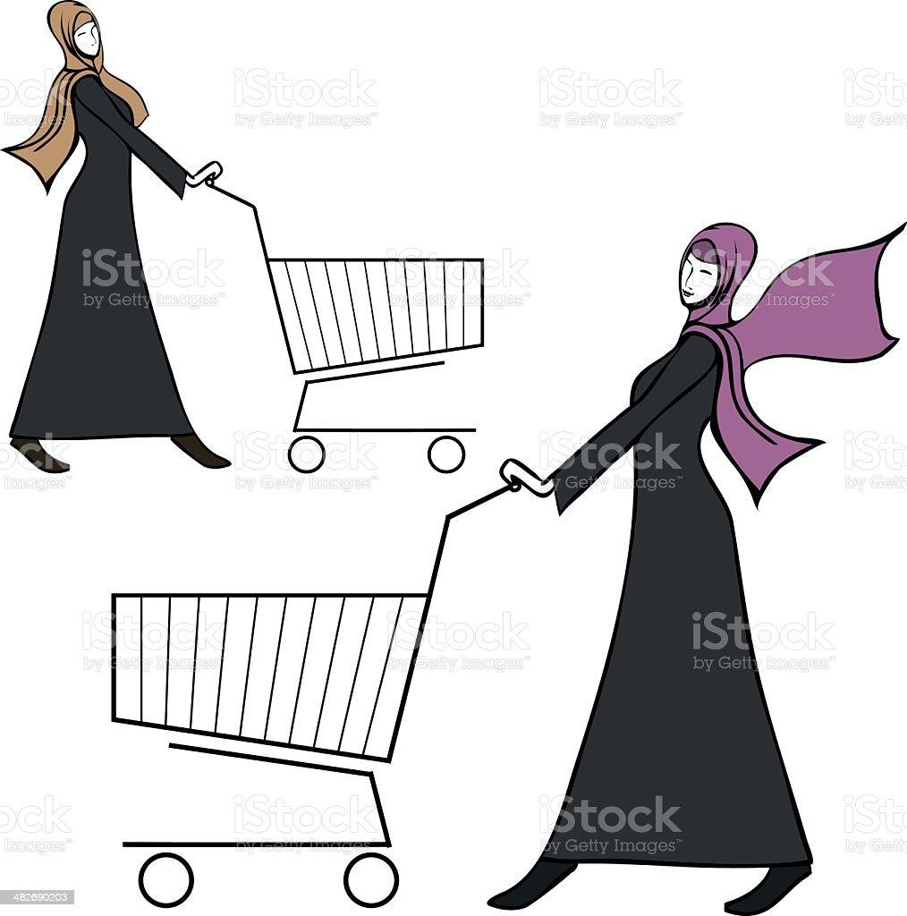 arab young woman pushing a shopping cart vector art illustration