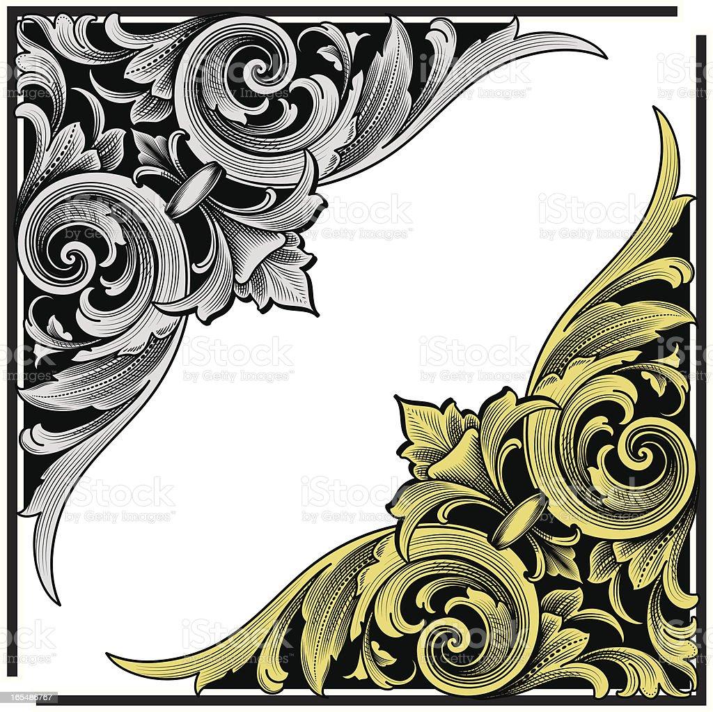 Arabesque Corner Engraving vector art illustration