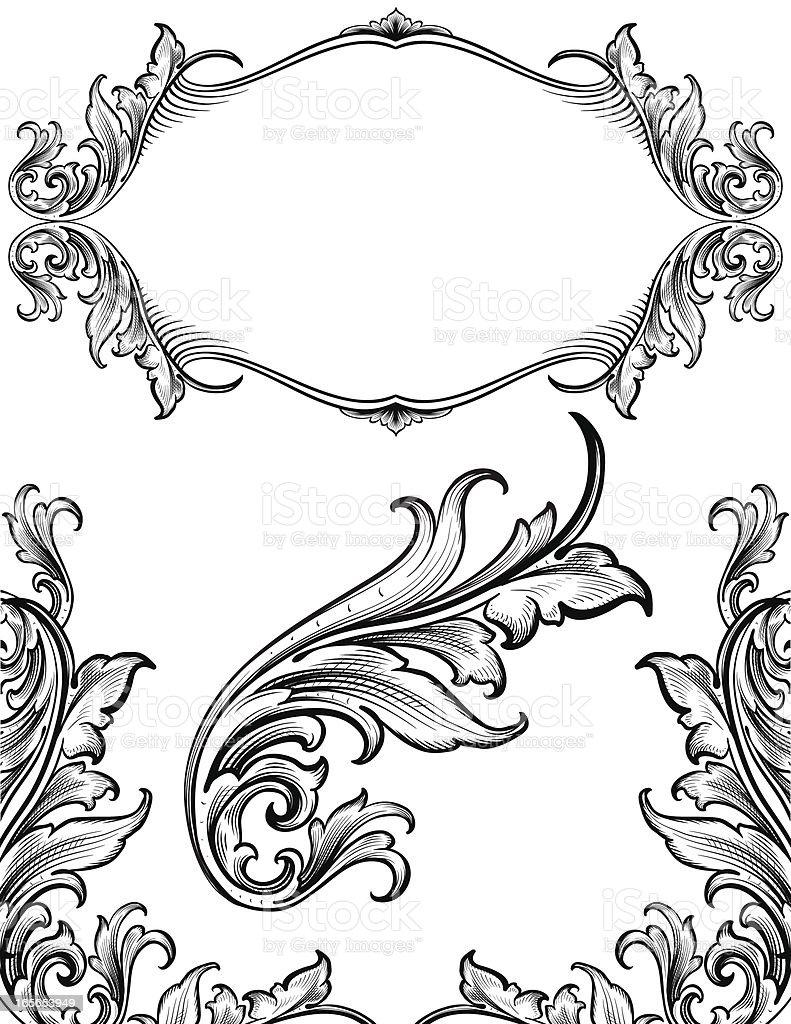 Arabesque Growth Set hand engraved scrollwork royalty-free stock vector art