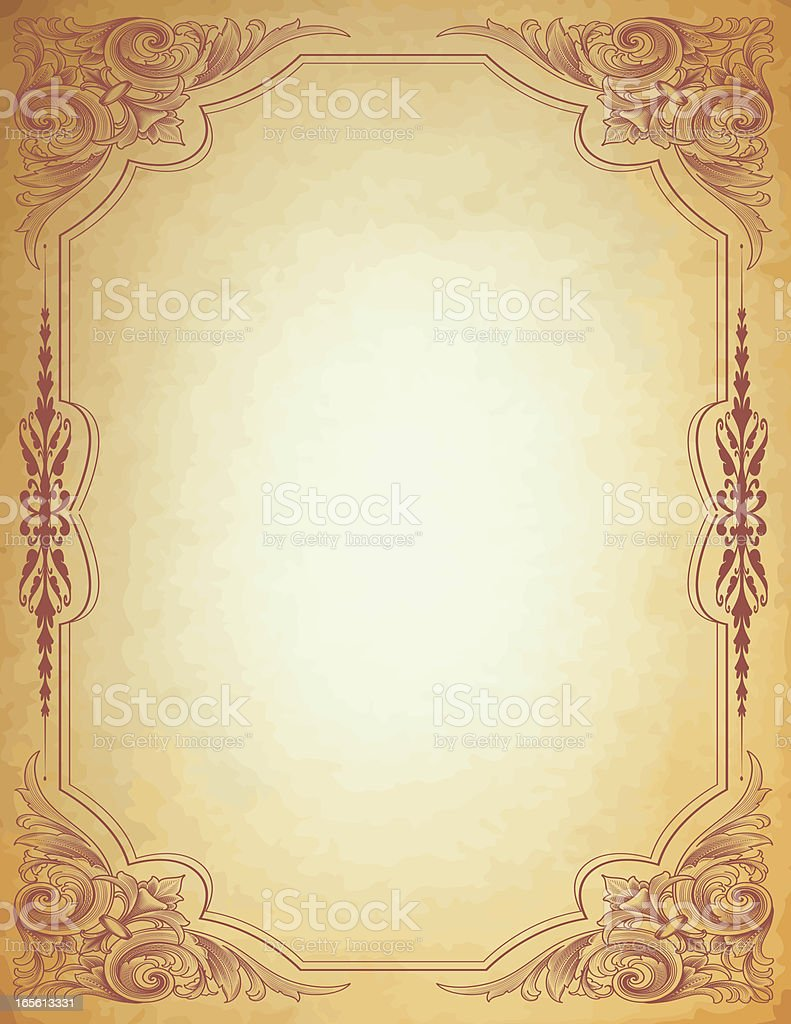 Arabesque Parchment Frame royalty-free stock vector art
