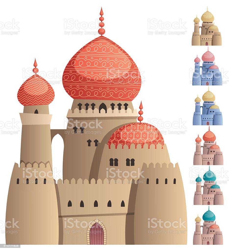 Arabian Castle on White vector art illustration