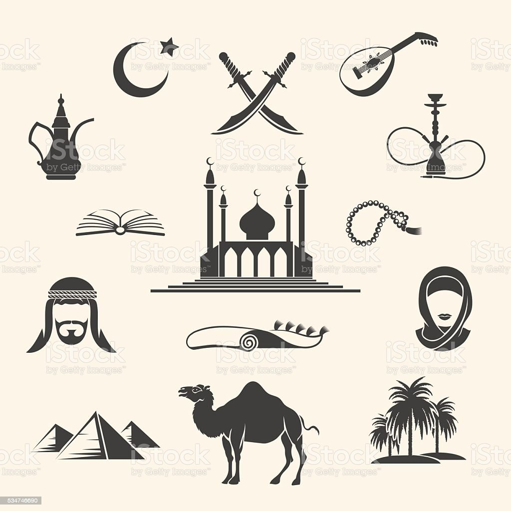 Arabian icons set vector art illustration