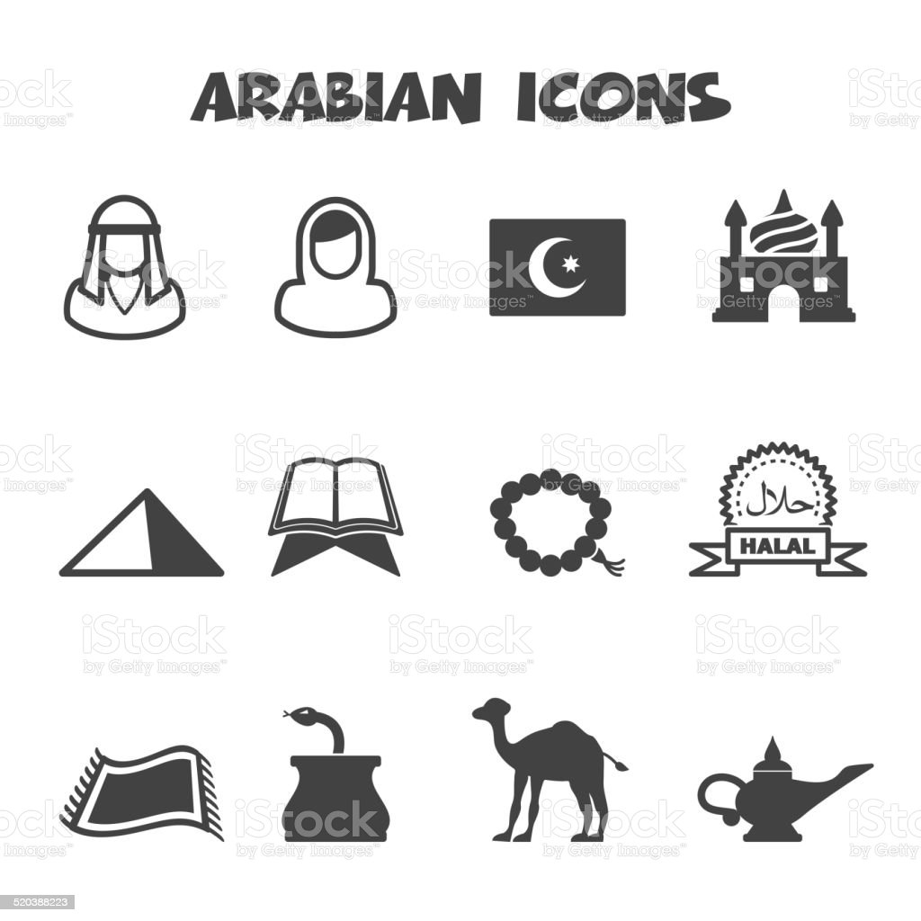 arabian icons vector art illustration