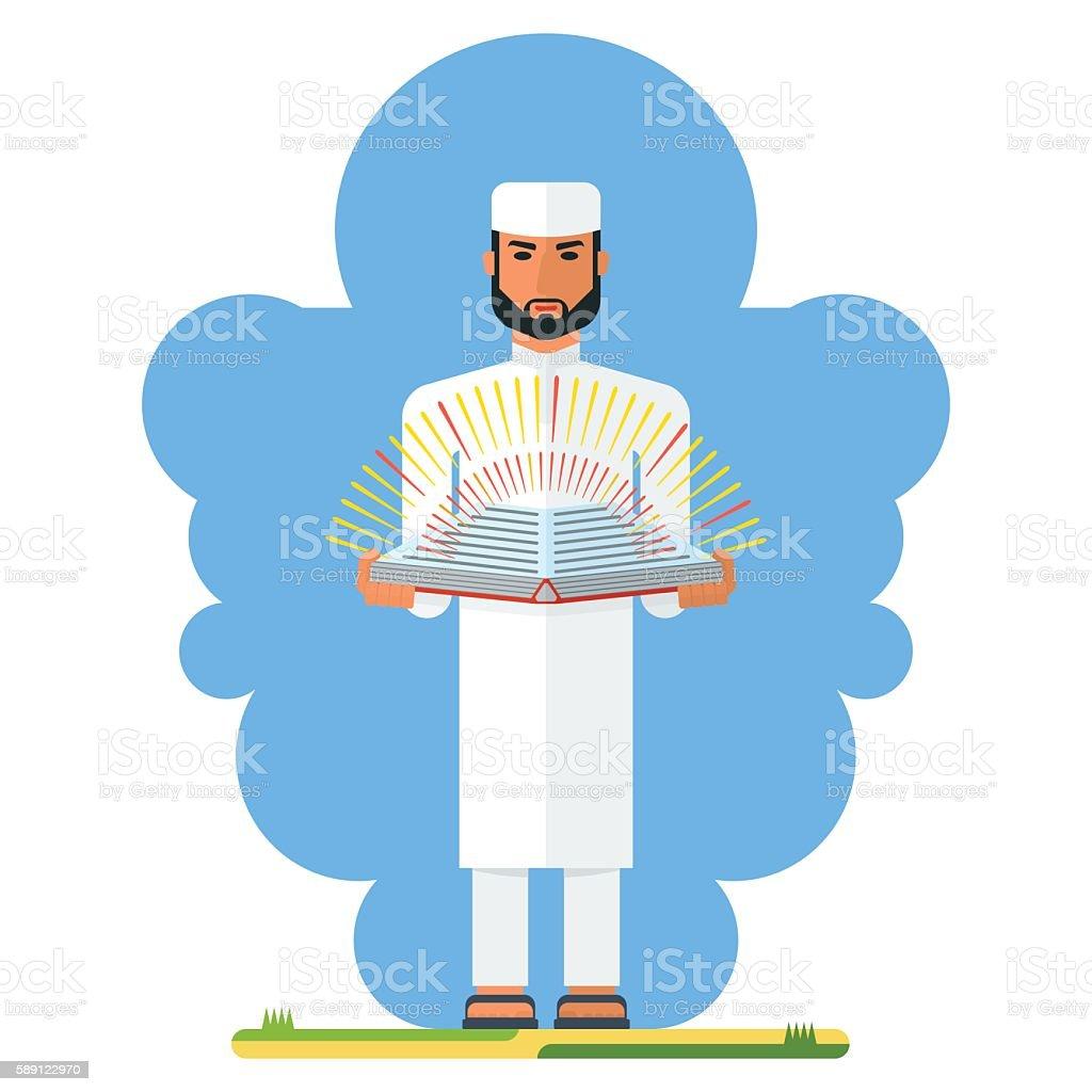 arabian man with book vector art illustration