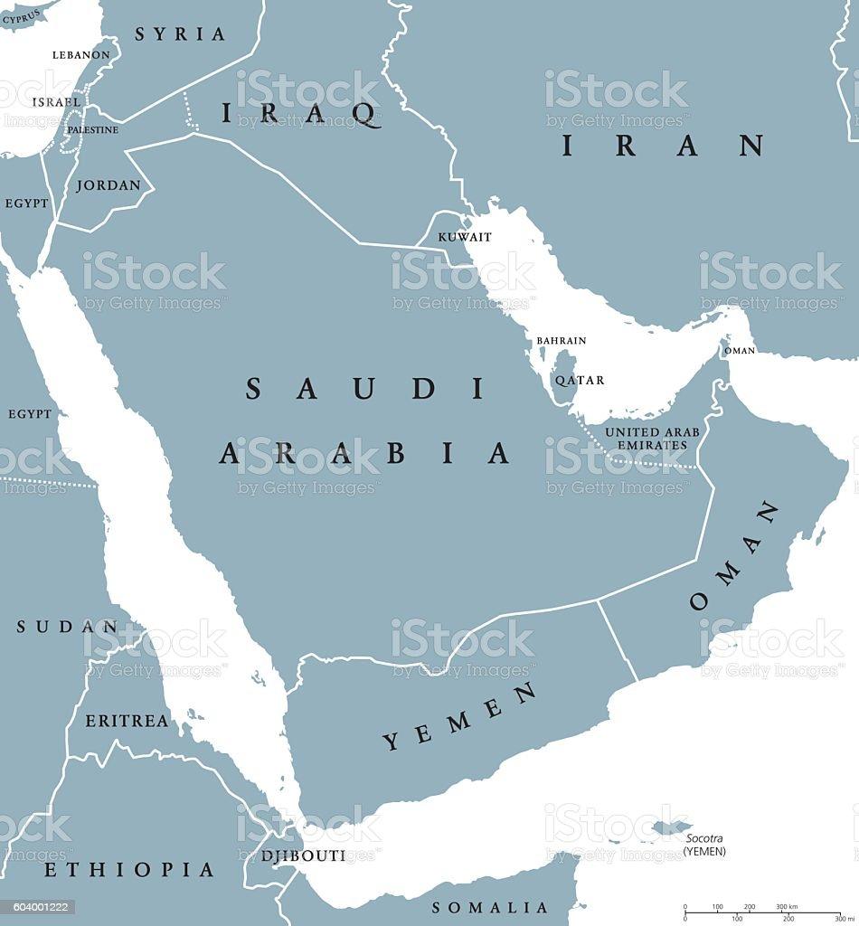Arabian peninsula countries political map vector art illustration