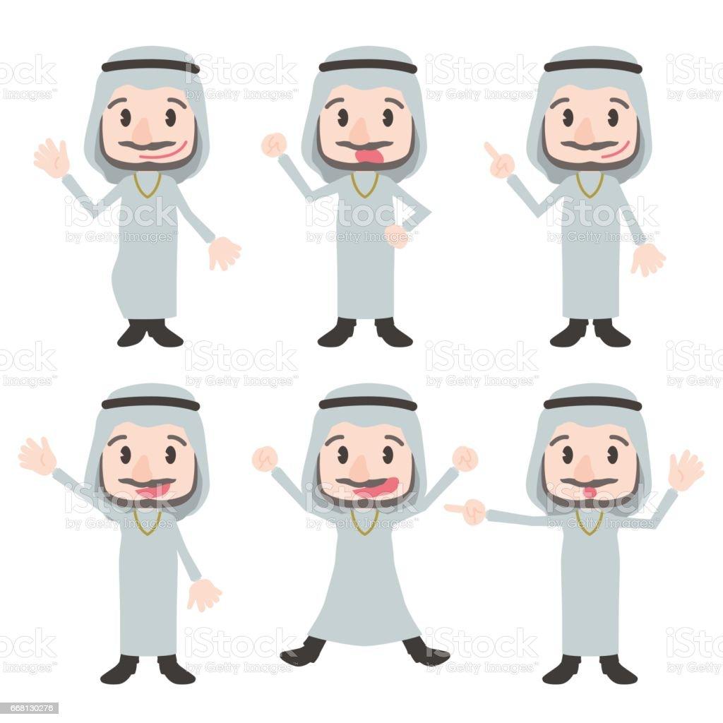 arabian person character various posing clip art set, wearing kandoora, vector illustration vector art illustration