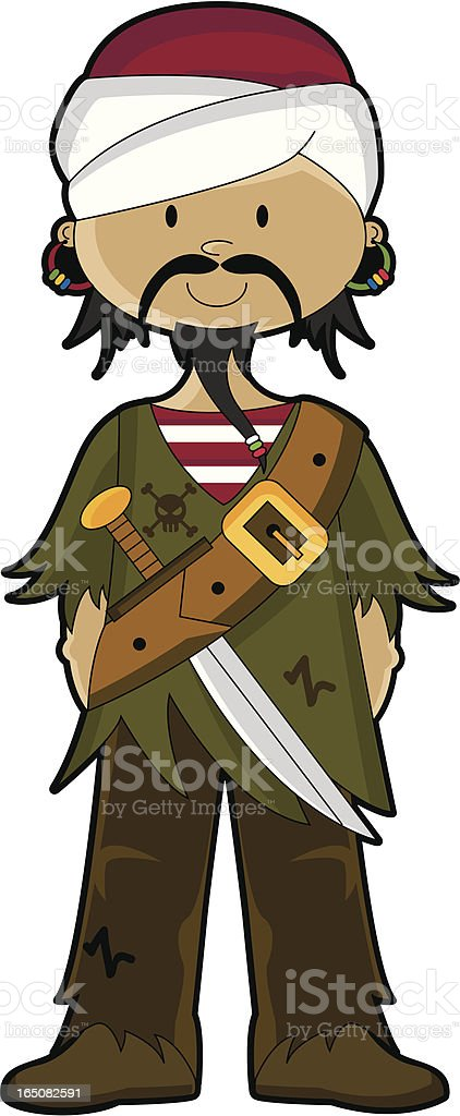 Arabian Pirate Character with no Background royalty-free stock vector art