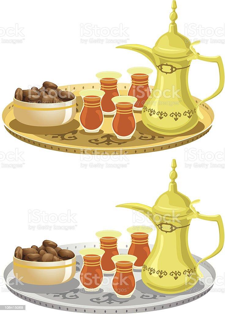 Arabian Tea Set With Dates vector art illustration