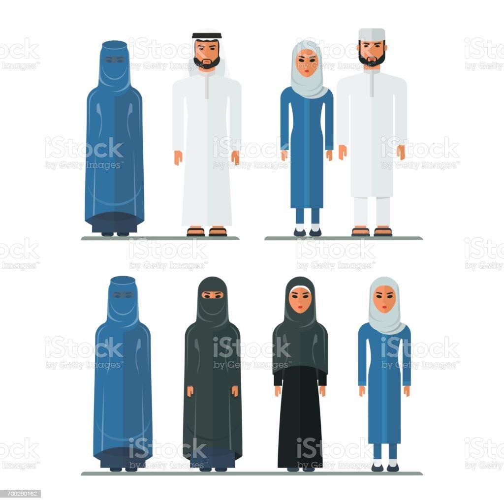 arabian traditional clothes vector art illustration