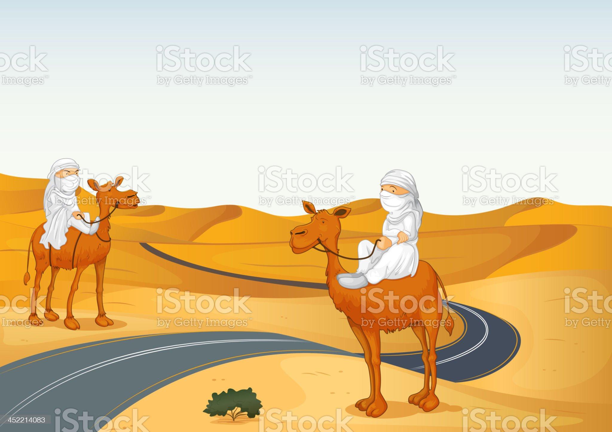 arabians riding on a camel royalty-free stock vector art