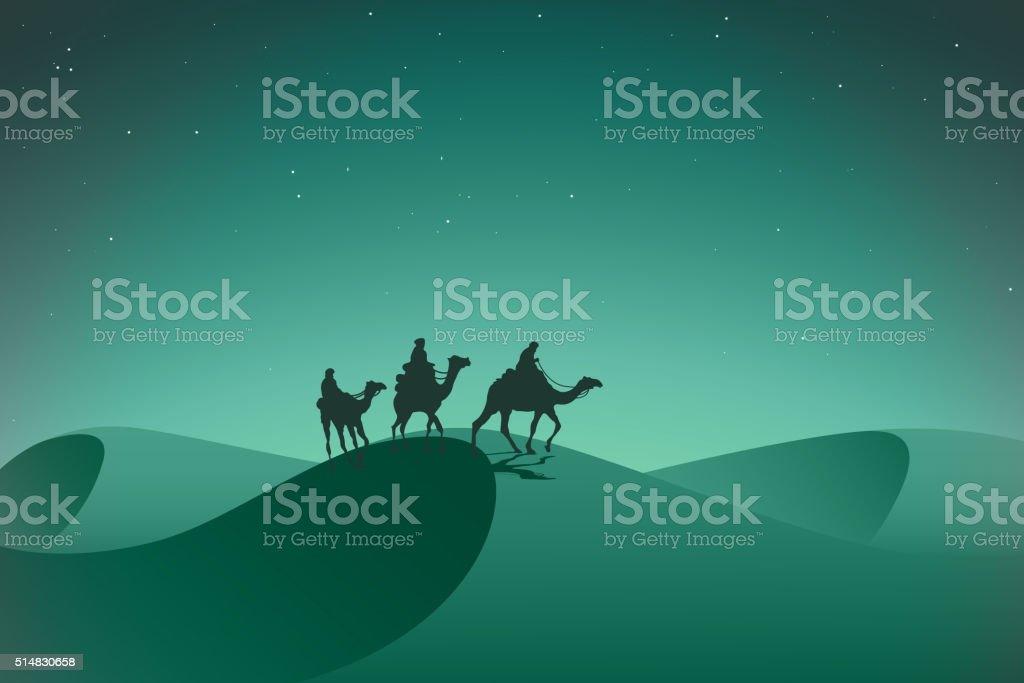 Arabic caravan in night desert. vector art illustration