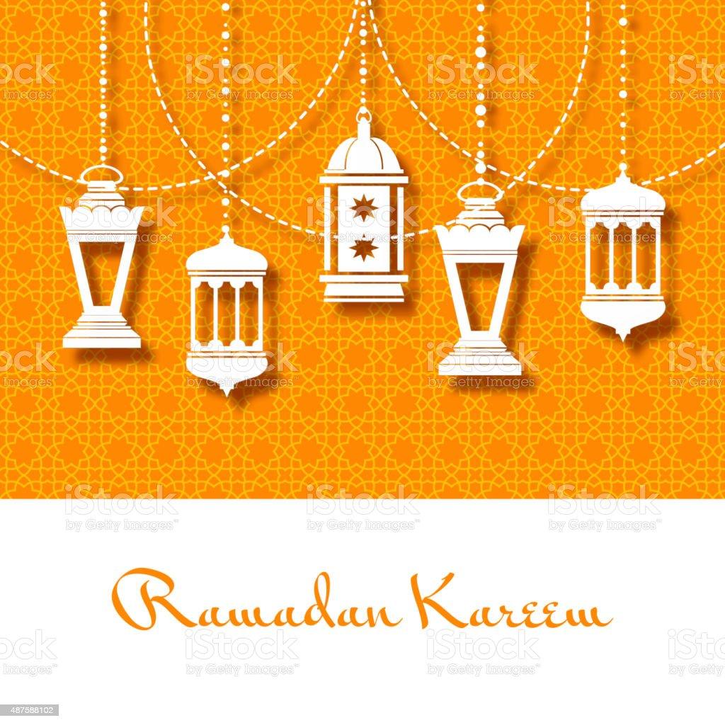 Arabic lanterns background for Ramadan Kareem vector art illustration