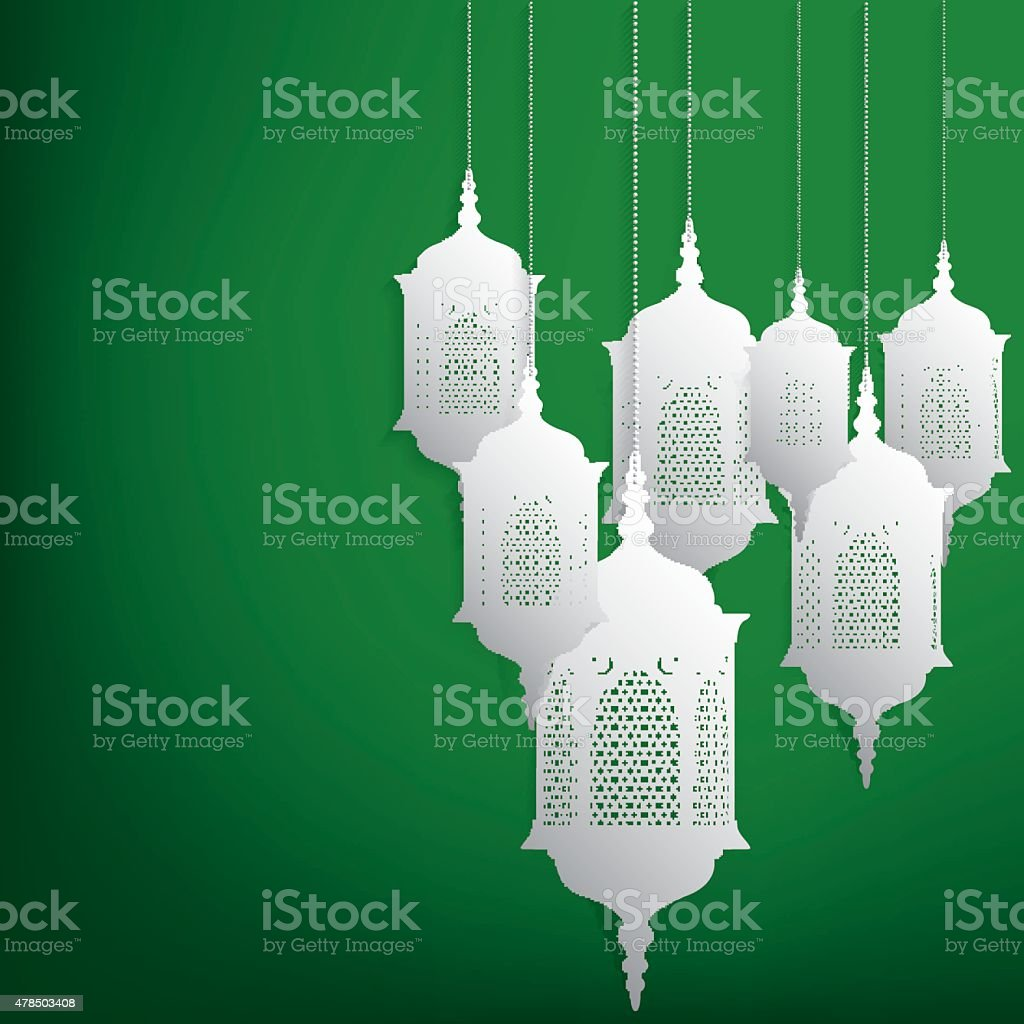 Arabic/ Moroccan lantern card in vector format. vector art illustration