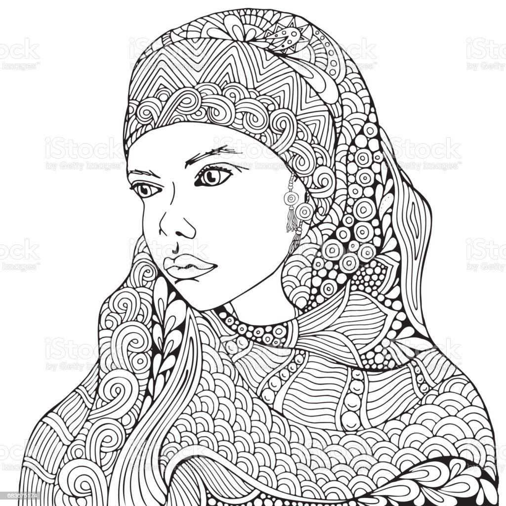 arabic muslim woman hijab coloring book page for black and