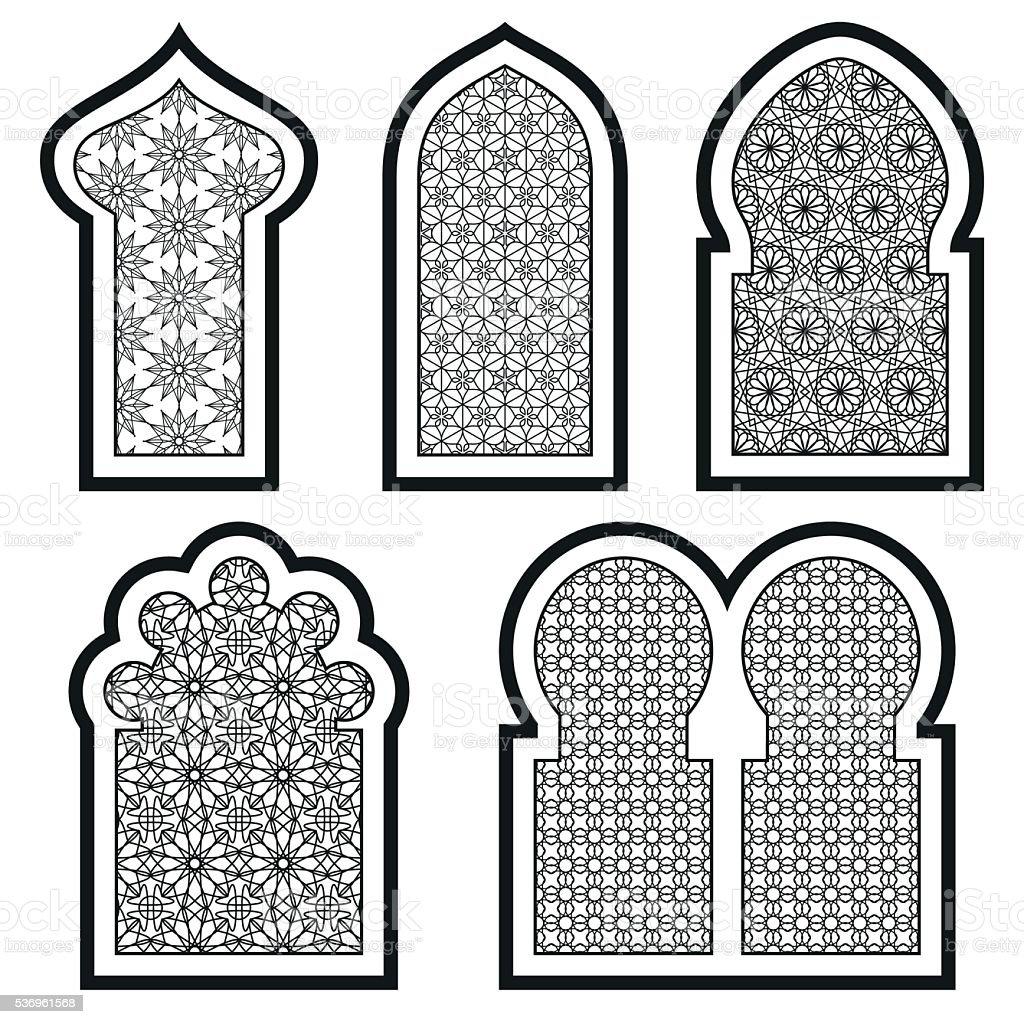 Arabic or Islamic windows set. Vector illustration. vector art illustration