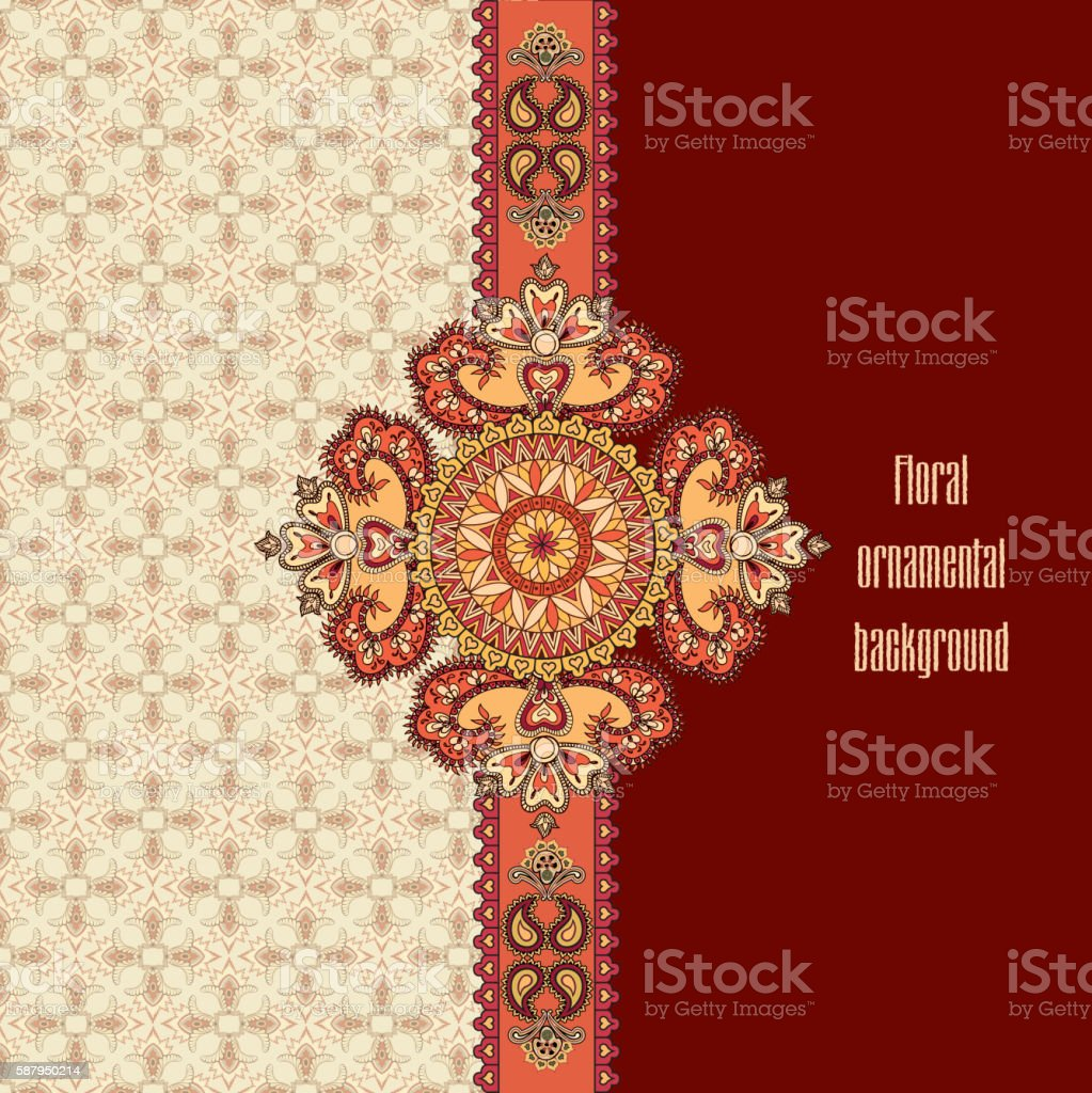 Arabic ornament. Floral mandala vertical decor. Geometric flower border vector art illustration