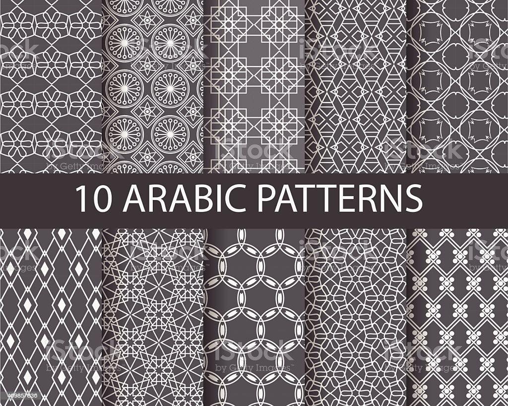 10 arabic patterns vector art illustration